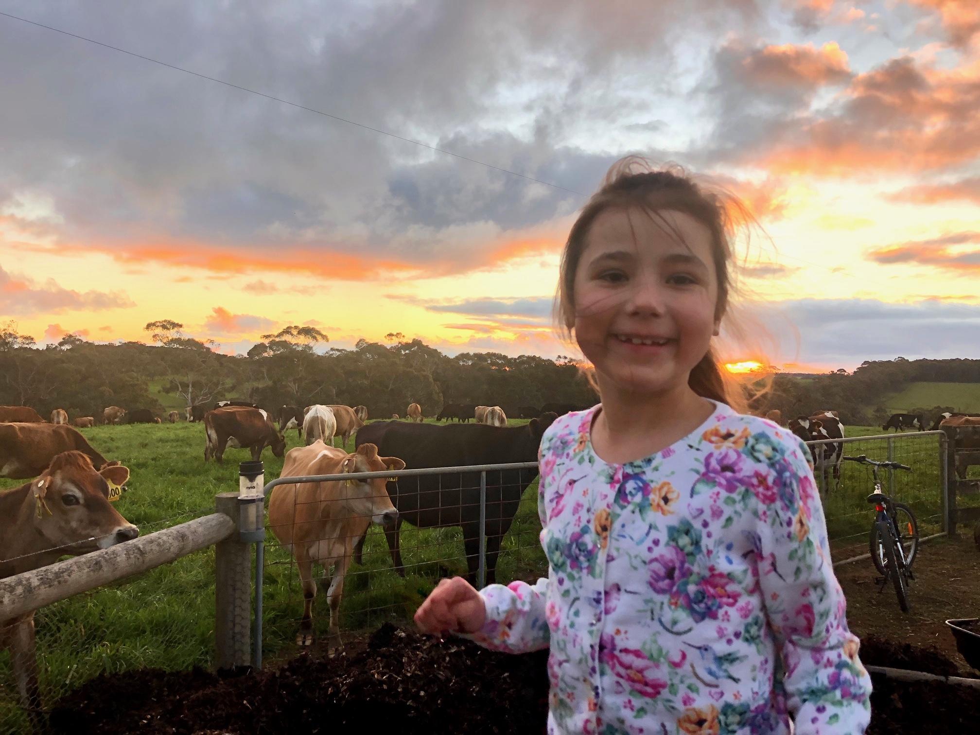Evie on the family farm.