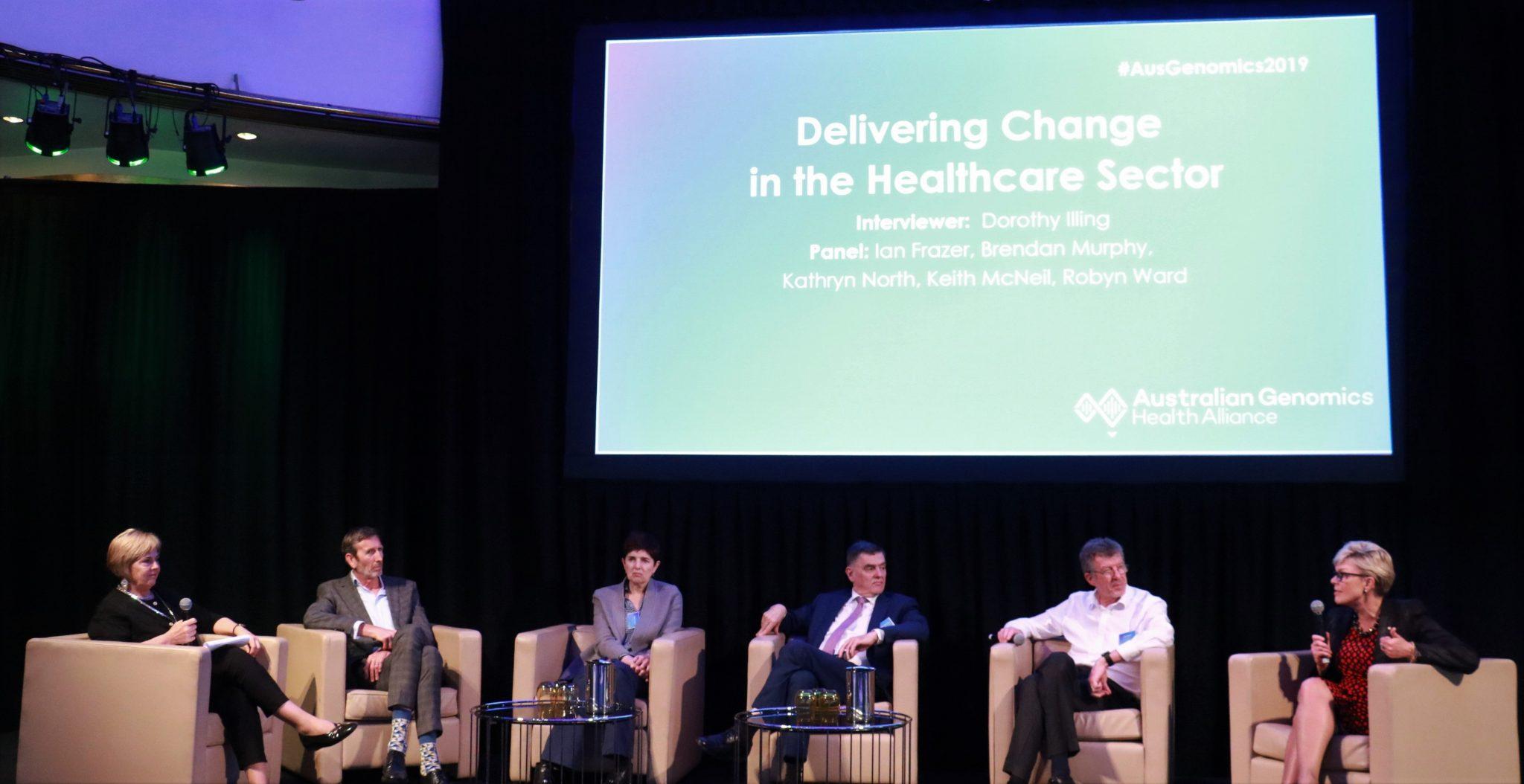 Panel Discussion L-R: Dorothy Illing, Keith McNeil, Robyn Ward, Brendan Murphy, Ian Frazer and Kathryn North
